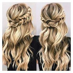 21 Beautiful Hair Style Ideas for Prom Night ❤ liked on Polyvore featuring beauty products, haircare and hair styling tools