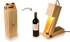 De wijnkist die verandert in een tafellamp om deze kerst de ideale stemming te creëren.