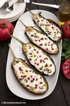 vinete-cu-sos-de-iaurt,-tahini-si-rodie-a Paratha Recipes, Lebanese Recipes, Zucchini, Cooking Recipes, Lunch, Tahini, Dinner, Vegetables, Drink