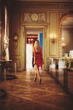 Jessica Stein walking away in french lace  Beautiful home!