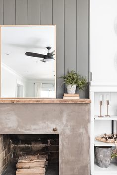 Fireplace Accent Walls, Shiplap Fireplace, Old Fireplace, Concrete Fireplace, Fireplace Remodel, Fireplace Surrounds, Diy Concrete, Fireplaces, Fireplace Ideas