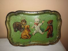 ANTIQUE TIN LITHO BEAR TRAY #UNMARKED