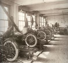 Some old photos from inside the Harley motorcycle factory from the 1910s and 1920s.