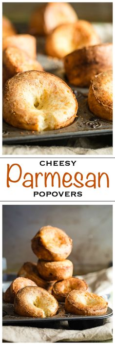 Crispy cheesy Parmesan Popovers! Perfect for your holiday roast and dipped in some tasty gravy! - Foodness Gracious