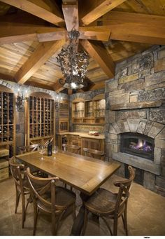 Wine Cellar & Tasting Room - traditional - wine cellar - sacramento - Ward-Young Architecture & Planning - Truckee, CA Cabin Homes, Log Homes, Home Wine Cellars, Wine Cellar Design, Sweet Home, Rustic Fireplaces, Cozy Fireplace, Tasting Room, Wine Tasting
