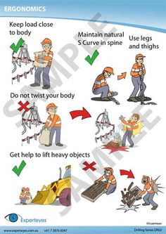Where To Get a Ergonomics Poster? These ergonomic pictures serve a purpose, to remind yourself of good work habits for a safer and healthier workplace, not to mention, more comfortable! Safety Quotes, Safety Slogans, Health And Safety Poster, Safety Posters, Safety Cartoon, Safety Pictures, Workplace Safety Tips, Safety Training, Fire Safety