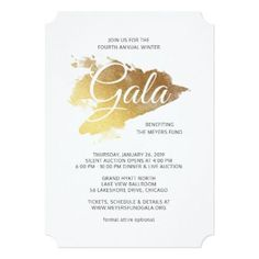 Gold Paint Modern Art Gala Card - invitations personalize custom special event invitation idea style party card cards