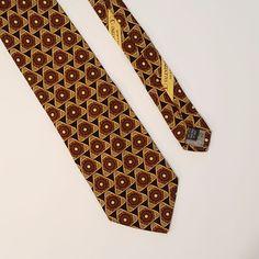 Valentino Silk Neck Tie Black Gold Geometric Triangles Italy Xmas Gift Idea Nice #Valentino #NeckTie