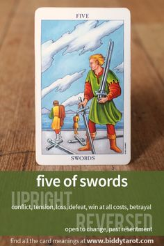 Five of Swords #tarotcardmeaning learn more at http://www.biddytarot.com/tarot-card-meanings/minor-arcana/suit-of-swords/five-of-swords/