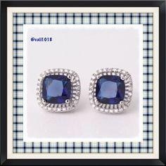 New Blue Sapphire White Gold Filled Earrings Gem Type: sapphire Earring size: 12mm*18mm Main Gem Size: 8mm Gem Quantity: 66 Cut: princess Color: blue Metal Type: 18k white gold filled Boutique Jewelry Earrings