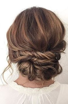 low bun wedding hairstyles - twisted chignon wedding hairstyle