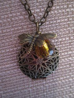 Dragonfly in Amber necklace  dragonfly in by stephiesbeadsbaubles