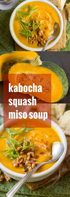 This luscious kabocha squash soup is infused with savory miso and topped with sweet and spicy maple roasted walnuts.