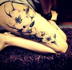 tattoo idea to add to my forearm! Black And White Flower Tattoo. Adorable, don't you think? Quite like this. Not really what I originally thought but something about it appeals. Lacking in colour though...