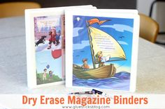 Dry Erase Magazine Binders: laminate hidden picture pages from Highlight's or kids magazines to create dry erase pages! Great for road trips!