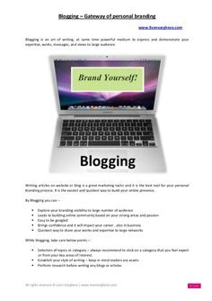 Blogging gateway of personal branding - by Liven Varghese