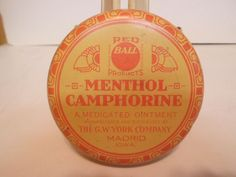Vintage Red Ball Menthol Camphorine Ointment Advertising Tin
