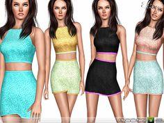 Two Piece Floral Dress by Ekinege - Sims 3 Downloads CC Caboodle