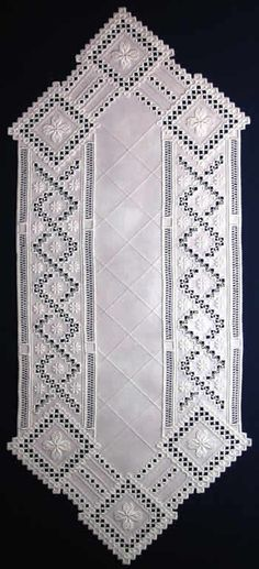 how modify with machine cutwork as lacy gauze shawlette?     .....    Rose Trellis (Hardanger embroidery runner)