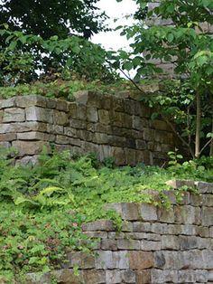 Pflegeleichter Garten mit weitläufigen Rasenmodellierungen. Der Birkenhain auf dem Damm bildet nachts eine spektakuläre Lichtachse, die in der weiten Landschaft endet. Natursteinmauern aus Sandstein fangen den Höhenunterschied zur Straße auf und rahmen die Einfahrt der Tiefgarage des Hauses ein. Stepping Stones, Outdoor Decor, Home Decor, Underground Garage, Low Maintenance Garden, Drive Way, Bielefeld, Birch, Garden Art