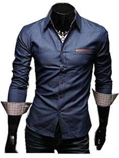 TM Vintage Sport Cool Denim Jean Punk Men's Slim Fit Shirts Long Sleeved givemefive-men clothes http://www.amazon.com/dp/B00LGNQSQ0/ref=cm_sw_r_pi_dp_gKPlub1QJG2ZP