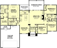 European Style House Plan - 4 Beds 2 Baths 2000 Sq/Ft Plan #430-74 Main Floor Plan - Houseplans.com