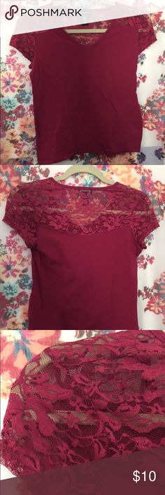Lace top This t shirt has lace on the top and adds detail to the shirt ! Wet Seal Tops Tees - Short Sleeve