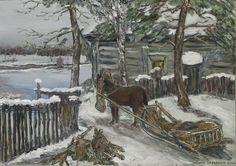 Marko Sapiołko -Olej na podobraziu płóciennym 50x70 ''Zima dawno temu''inspirowany obrazem ''Zima 1894'' rosyjskiego malarza Konstantina Korowina http://www.museumsyndicate.com/item.php?item=1264