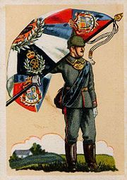 Landwehr Regiment No. 91 raised by the Grand Duchy of Oldenburg henche the corner fields with the arms of Oldenburg