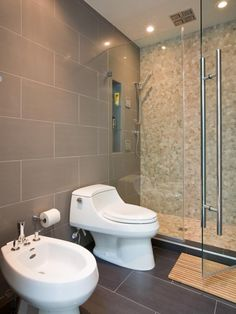 Contemporary Bathroom With Bidet - A Cookie-cutter Row House Goes Modern on HGTV