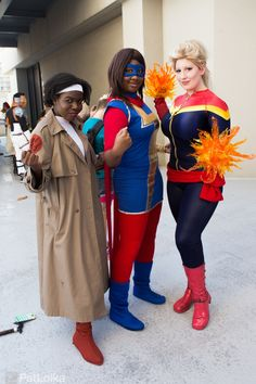 and Ms Marvel! I was so happy to finally get a photo with some of my favorite people in these costumes! Carol Danvers is bellechere Monica Rambeau is Jay Justice Kamala Khan is. Marvel Women, Ms Marvel, Captain Marvel, Marvel Characters, Female Characters, Crazy Costumes, Muslim Family, And Justice For All, Sci Fi Movies