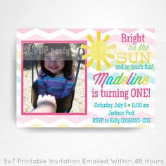 Pink Sunshine Party Printable Invitation by Print POP Party    This is an emailed file, nothing will be shipped to you. Please include your childs