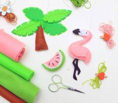 Flamingo miniatura fieltro adornos ideas por MiracleInspiration