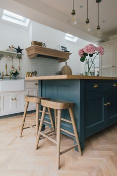 Bumble Oak Stools From Loaf - A Modern Country Farrow & Ball Downpipe And Skimming Stone Kitchen With Oak Parquet Flooring