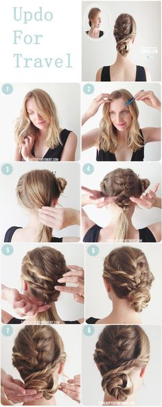 Hairstyle Updo for Travel ~ Tutorial step by step