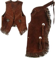 Your little cowgirl would feel all grown up when she puts on this Child's Suede Leather Chap & Vest Set.
