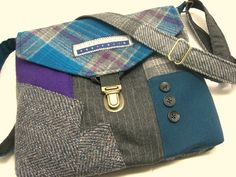 Wool purse, Recycled purse,  Crossbody Purse,  blue purple gray plaid wool, mens suit coat, Eco Friendly