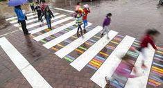 Rafael Perez Martinez Bulgarian artist Christo Guelov has been turning the crosswalks in Madrid, Spain, into fun and colorful art pieces. Named 'Funnycross'… Passage Piéton, Street Art, Pedestrian Crossing, Paving Design, Zebra Crossing, Art Challenge, Urban Planning, Land Art, Art Festival