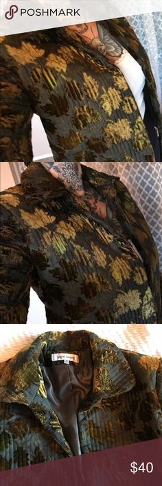 Designer plush velvet tapestry leaf quilted jacket Very pretty jacket. I'm a size 8 so size runs a bit small. Tag says size 10. It's like a greenish brown color. Really beautiful and cute for fall. Very urban Free People style fashion. Harve Benard Jackets & Coats