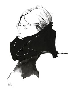 Melbourne Winter girl #fashion #illustration by Angie Rehe