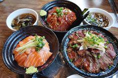 Salmon Rice Bowl 영어덥밥; Tuna Rice Bowl 참치덥밥; Steak Rice Bowl 스테이크덥밥 Hongdae Gae Mi 홍대개미, Sangsu