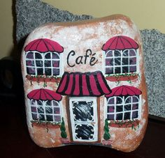 French Cafe Painted Rock Doorstop Art by aquietplace on Etsy