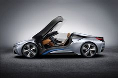 BMW i8 Concept Spyder.  Hybrid gas/electric engine with a combined 354 hp and 405 lb-ft of torque.