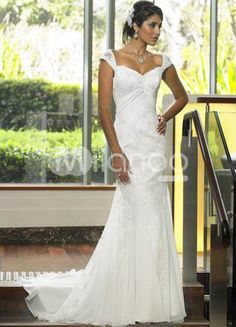 White Sheath Sweep Satin Chiffon Wedding Dress