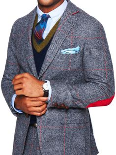 Tweed jacket with bold elbow patch... Professor look! @Atlanta Shelly