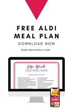 Free One Week ALDI Meal Plan! Includes shopping lists, menus, and more. Download for free now! Aldi Meal Plan, Easy Meal Plans, Low Budget Meals, Cinnamon Crunch, Printable Menu, Dinner Options, One Week, Shopping Lists, Tight Budget