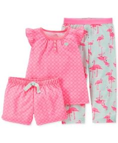 Carter's Baby Girls' 3-Piece Floral Flamingo Pajamas