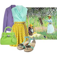 Art inspired fashion. Cute outfit, Easter morning with a picnic afterward?  Monet, created by georgina-m