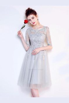 OKDRESSES offers Cheap A-line Gray Half Sleeves Knee Length Tulle Lace Homecoming Dresses for women and girls with reasonable price and high quality. Bridesmaid Dresses 2018, Lace Homecoming Dresses, Bridesmaids, Wedding Dresses, Lace Wedding, Half Sleeve Dresses, Half Sleeves, Tulle Lace, Special Occasion Dresses