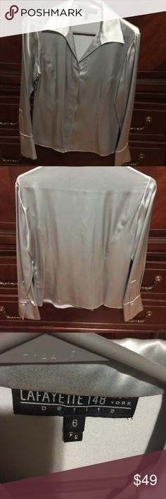 NEW WOMENS LAFAYETTE 148 SIZE 6 PETITE NEW WOMENS LAFAYETTE 148 SIZE 6 PETITE COLOR SILVER SILK MATERIAL Lafayette 148 New York Tops Blouses